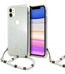 "Skaidrus dėklas Apple iPhone 11 telefonui ""GUHCN61KPSWH Guess PC Script and White Pearls Case"""