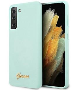"Šviesiai mėlynas dėklas Samsung Galaxy S21 telefonui ""GUHCS21SLSLMGLB Guess Silicone Metal Logo Script Cover"""