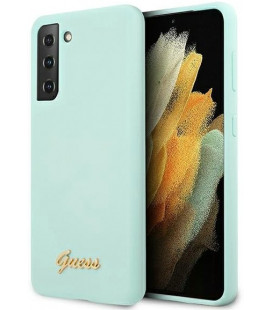 """Šviesiai mėlynas dėklas Samsung Galaxy S21 Plus telefonui """"GUHCS21MLSLMGLB Guess Silicone Metal Logo Script Cover"""""""