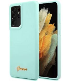 "Šviesiai mėlynas dėklas Samsung Galaxy S21 Ultra telefonui ""GUHCS21LLSLMGLB Guess Silicone Metal Logo Script Cover"""
