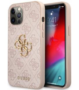 """Rožinis dėklas Apple iPhone 12/12 Pro telefonui """"GUHCP12M4GMGPI Guess PU 4G Metal Logo Case"""""""