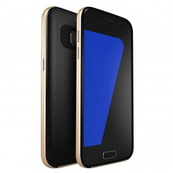 """Auksinės spalvos CARBON dėklas Samsung Galaxy S7 Edge telefonui """"U.Case"""""""
