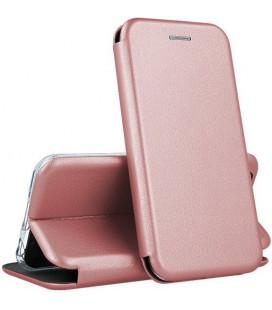 """Rausvai auksinės spalvos atverčiamas dėklas Samsung Galaxy S21 telefonui """"Book Elegance"""""""