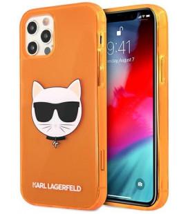 "Oranžinis dėklas Apple iPhone 12/12 Pro telefonui ""KLHCP12MCHTRO Karl Lagerfeld TPU Choupette Head Case"""