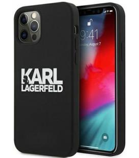 """Juodas dėklas Apple iPhone 12/12 Pro telefonui """"KLHCP12MSLKLRBK Karl Lagerfeld Stack White Logo White Silicone Case"""""""