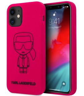 "Rožinis dėklas Apple iPhone 12 Mini telefonui ""KLHCP12SSILFLPI Karl Lagerfeld Iconic Outline Silicone Cover"""