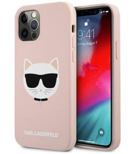 "Šviesiai rožinis dėklas Apple iPhone 12/12 Pro telefonui ""KLHCP12MSLCHLP Karl Lagerfeld Choupette Head Silicone Case"""