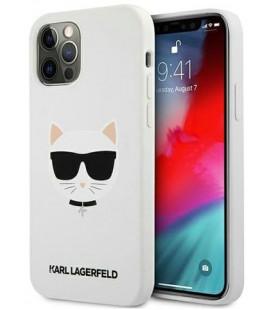 "Baltas dėklas Apple iPhone 12/12 Pro telefonui ""KLHCP12MSLCHWH Karl Lagerfeld Choupette Head Silicone Case"""