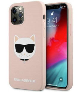 "Rožinis dėklas Apple iPhone 12 Pro Max telefonui ""KLHCP12LSLCHLP Karl Lagerfeld Choupette Head Silicone Case"""