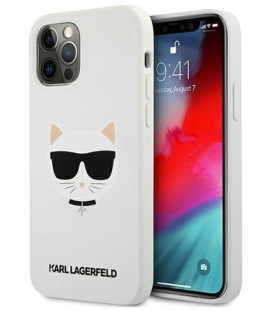 "Baltas dėklas Apple iPhone 12 Pro Max telefonui ""KLHCP12LSLCHWH Karl Lagerfeld Choupette Head Silicone Case"""
