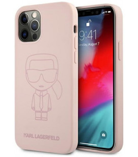 "Rožinis dėklas Apple iPhone 12/12 Pro telefonui ""KLHCP12MSILTTPI Karl Lagerfeld Iconic Outline Silicone Case"""