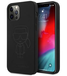 "Juodas dėklas Apple iPhone 12 Pro Max telefonui ""KLHCP12LSILTTBK Karl Lagerfeld Iconic Outline Silicone Case"""