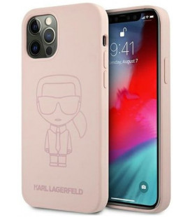 "Rožinis dėklas Apple iPhone 12 Pro Max telefonui ""KLHCP12LSILTTPI Karl Lagerfeld Iconic Outline Silicone Case"""