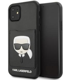 "Juodas dėklas Apple iPhone 11 telefonui ""KLHCN61CSKCBK Karl Lagerfeld CardSlot Cover"""