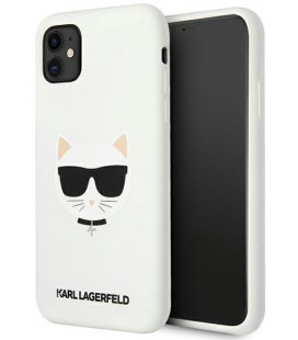 "Baltas dėklas Apple iPhone 11 telefonui ""KKLHCN61SLCHWH Karl Lagerfeld Choupette Head Silicone Case"""