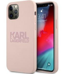 """Rožinis dėklas Apple iPhone 12/12 Pro telefonui """"KLHCP12MSTKLTLP Karl Lagerfeld Stack Pink Logo Silicone Case"""""""
