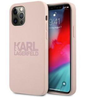 """Rožinis dėklas Apple iPhone 12 Pro Max telefonui """"KLHCP12LSTKLTLP Karl Lagerfeld Stack Pink Logo Silicone Case"""""""