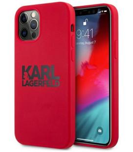 "Raudonas dėklas Apple iPhone 12 Pro Max telefonui ""KLHCP12LSLKLRE Karl Lagerfeld Stack Black Logo Silicone Case"""