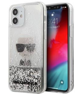 """Sidabrinės spalvos dėklas Apple iPhone 12 Mini telefonui """"KLHCP12SGLIKSL Karl Lagerfeld Liquid Glitter Iconic Cover"""""""