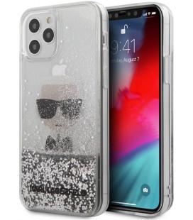 "Sidabrinės spalvos dėklas Apple iPhone 12 Pro Max telefonui ""KLHCP12LGLIKSL Karl Lagerfeld Liquid Glitter Iconic Cover"""