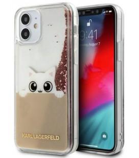 "Rožinis dėklas Apple iPhone 12 Mini telefonui ""KLHCP12SPABGNU Karl Lagerfeld Liquid Glitter Peek a Boo Cover"""