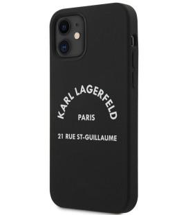 "Juodas dėklas Apple iPhone 12 Mini telefonui ""KLHCP12SSLSGRBK Karl Lagerfeld Rue St Guillaume Silicone Case"""