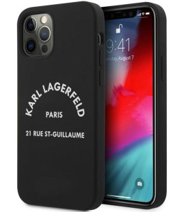 """Juodas dėklas Apple iPhone 12/12 Pro telefonui """"KLHCP12MSLSGRBK Karl Lagerfeld Rue St Guillaume Silicone Case"""""""