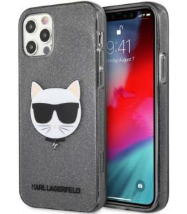 "Juodas dėklas Apple iPhone 12/12 Pro telefonui ""KLHCP12MCHTUGLB Karl Lagerfeld Choupette Head Glitter Case"""