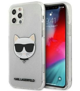 "Sidabrinės spalvos dėklas Apple iPhone 12/12 Pro telefonui ""KLHCP12MCHTUGLS Karl Lagerfeld Choupette Head Glitter Case"""