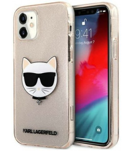 "Auksinės spalvos dėklas Apple iPhone 12 Mini telefonui ""KLHCP12SCHTUGLGO Karl Lagerfeld Choupette Head Glitter Case"""