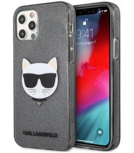 "Juodas dėklas Apple iPhone 12 Pro Max telefonui ""KLHCP12LCHTUGLB Karl Lagerfeld Choupette Head Glitter Case"""