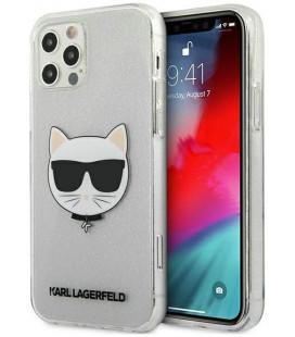 "Sidabrinės spalvos dėklas Apple iPhone 12 Pro Max telefonui ""KLHCP12LCHTUGLS Karl Lagerfeld Choupette Head Glitter Case"""