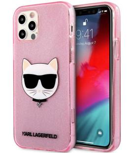 "Rožinis dėklas Apple iPhone 12 Pro Max telefonui ""KLHCP12LCHTUGLP Karl Lagerfeld Choupette Head Glitter Case"""
