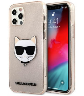 "Auksinės spalvos dėklas Apple iPhone 12 Pro Max telefonui ""KLHCP12LCHTUGLGO Karl Lagerfeld Choupette Head Glitter Case"""