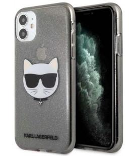 "Juodas dėklas Apple iPhone 11 telefonui ""KLHCN61CHTUGLB Karl Lagerfeld Choupette Head Glitter Case"""