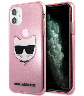 "Rožinis dėklas Apple iPhone 11 telefonui ""KLHCN61CHTUGLP Karl Lagerfeld Choupette Head Glitter Case"""