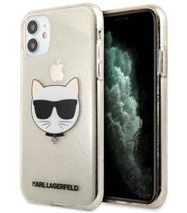 "Auksinės spalvos dėklas Apple iPhone 11 telefonui ""KLHCN61CHTUGLGO Karl Lagerfeld Choupette Head Glitter Case"""