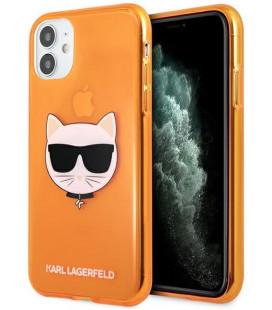 """Oranžinis dėklas Apple iPhone 11 telefonui """"KLHCN61CHTRO Karl Lagerfeld TPU Choupette Head Case"""""""