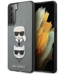 "Sidabrinės spalvos dėklas Samsung Galaxy S21 telefonui ""KLHCS21SSAKICKCSL Karl Lagerfeld Saffiano K&C Heads Cover"""