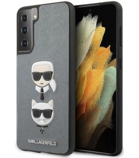 "Sidabrinės spalvos dėklas Samsung Galaxy S21 Plus telefonui ""KLHCS21MSAKICKCSL Karl Lagerfeld Saffiano K&C Heads Cover"""