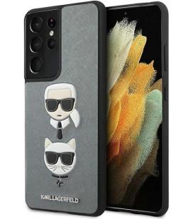 "Sidabrinės spalvos dėklas Samsung Galaxy S21 Ultra telefonui ""KLHCS21LSAKICKCSL Karl Lagerfeld Saffiano K&C Heads Cover"""