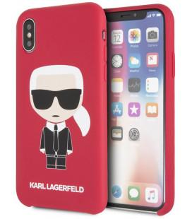 "Raudonas dėklas Apple iPhone X/XS telefonui ""KLHCPXSLFKRE Karl Lagerfeld Iconic Bull Body Silicone Case"""