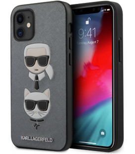 "Sidabrinės spalvos dėklas Apple iPhone 12 Mini telefonui ""KLHCP12SSAKICKCSL Karl Lagerfeld Saffiano K&C Heads Cover"""