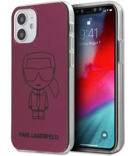"Rožinis dėklas Apple iPhone 12 Mini telefonui ""KLHCP12SPCUMIKPI Karl Lagerfeld PC/TPU Metallic Iconic Outline Cover"""