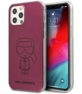 "Rožinis dėklas Apple iPhone 12 Pro Max telefonui ""KLHCP12LPCUMIKPI Karl Lagerfeld PC/TPU Metallic Iconic Outline Cover"""