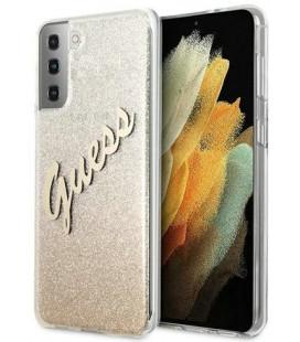 """Auksinės spalvos dėklas Samsung Galaxy S21 Plus telefonui """"GUHCS21MPCUGLSGO Guess PC/TPU Vintage Cover"""""""