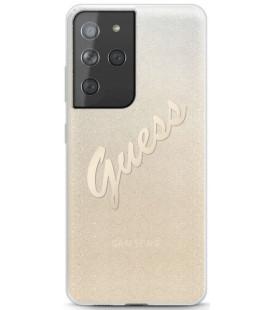 """Auksinės spalvos dėklas Samsung Galaxy S21 Ultra telefonui """"GUHCS21LPCUGLSGO Guess PC/TPU Vintage Cover"""""""