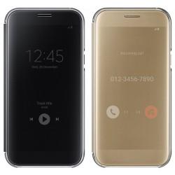 Sidabrinės spalvos metalinis rėmelis su veidrodiniu dangteliu Samsung Galaxy A3 2016 telefonui