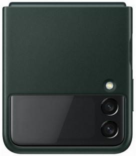"""Originalus žalias dėklas """"Leather Cover"""" Samsung Galaxy Z Flip 3 telefonui """"EF-VF711LGE"""""""