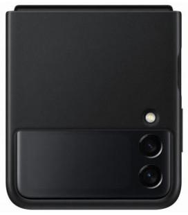 """Originalus juodas dėklas """"Leather Cover"""" Samsung Galaxy Z Flip 3 telefonui """"EF-VF711LBE"""""""